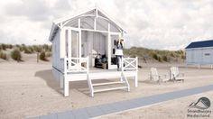 Strandhuisjes op het strand van Kijkduin, bij Den Haag. Slapen op het strand voor bijzondere overnachtingen in een huisje aan zee.