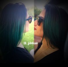 Black root extension to a seamless teal color melt. Products used Paul Mitchell PM shines 1B jet black and Joico Color Intensity Peacock Green and Sapphire Blue over level 9 pre lightened canvas! -by Jackie Henderson