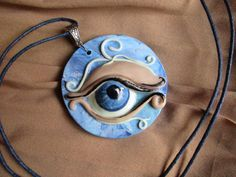 Eye  Blu eye Pendant Glow effect Polymer clay by Gallysart on Etsy