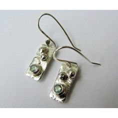 Clouded Pool oxidised short silver earrings by Sally Ratcliffe jewellery