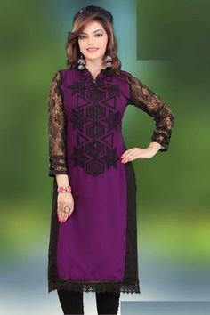 Wine and Black Color Georgette Readymade Casual Kurtis ( Sizes - 40, 42, 44 ) : Genelia Collection YF-22339