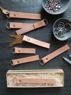 DIY leather key rings