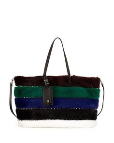 Red Valentino Rockstud Large Mink Fur Tote Bag, Multi, Women's