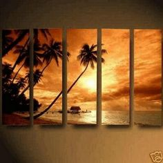 Abstract Art, Hawaii Seashore Sunset, Large Wall Art, Landscape Painting, Canvas Painting, Oil Painting, 5 Piece Wall Art, Huge Wall Art, Ready to Hang