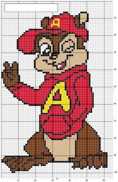 Cross Stitch For Kids, Cross Stitch Cards, Cross Stitch Alphabet, Cross Stitching, Cross Stitch Embroidery, Cross Stitch Designs, Cross Stitch Patterns, Pixel Art Templates, Kid Character