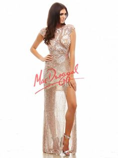 Nude Prom Dress with High Leg Slit | Sparkle Dress | Mac Duggal 4116A