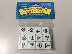 EDUCATIONAL DICE, POSITIVE AND NEGATIVE NUMBER , SET OF 12, LER 7695 #LearningResources