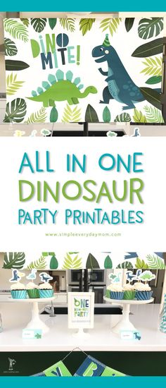 Dinosaur birthday party | Throw together a fabulous DIY dino party with this all in one printable party package that includes editable invitations, thank you cards, cake toppers, cupcake toppers, cupcake wrappers, a happy birthday banner, a welcome door sign, thank you hang tags for party favors, 4x6 table signs, dinosaur coloring pages, a giant backdrop poster, a smaller decoration poster, food label cards, straw flags, water bottle labels and a welcome door sign!