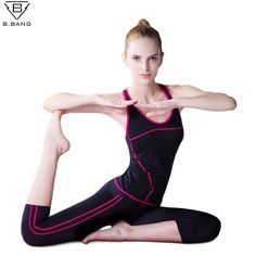 B.BANG Women Sport Yoga Sets Vest Pants Suits for Workout Running Fitness Training Clothing Girl Sports Shirts Women Sportswear