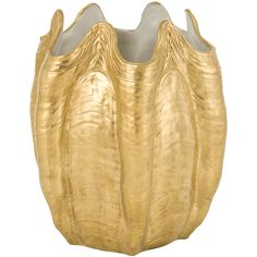 Villari Porto Cervo Waste Bin - Full Antique Gold (1,255 CAD) ❤ liked on Polyvore featuring home, home decor, small item storage, metallic, handmade home decor, antique home decor, inspirational home decor and seashell home decor