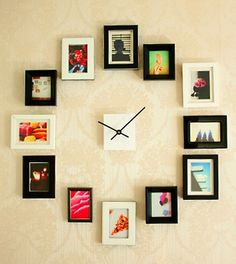 This DIY clock is functional, makes great wall art, and is unique to you because you get pick what photos and frames you wanna use for it.
