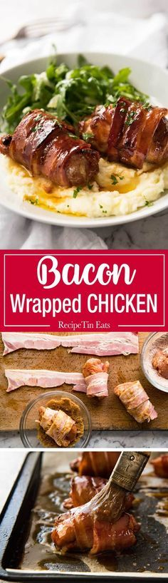 Bacon Wrapped Chicken - A spectacular way to dress up chicken with just a few simple ingredients! Brown sugar is the key to creating a gorgeous…