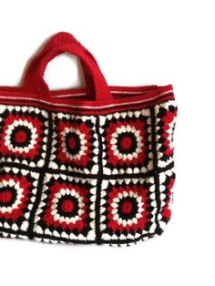 Crochet bag  Black red cream business tote bag knit by BisBagArt, $89.00