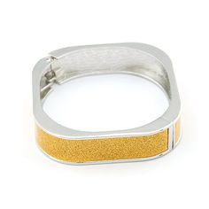 Elegant Square Shape Fashion Bangle - Silver with Yellow