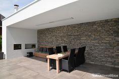 Steenstrips moderne veranda - grijze wandbekleding met de sfeer van Natuurstenen.