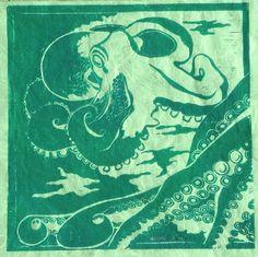 Octopus in Green   Original Linocut Print by TheGreyFoxStudio, $54.99