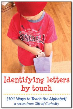 Once your kids are able to identify most letters by sight, play this fun game with them where they must identify letters solely by touch. In Montessori, we call this using the stereognostic sense. || Gift of Curiosity