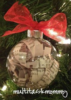Favorite book or song lyrics in an ornament. Great sentimental DYI Christmas gift, or what everyone is grateful for during the year typed on antique finished paper. Add to it each year with the year noted on each strip.   best stuff