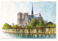 The cathedral of Notre Dame on l'île de la Cité in Paris, late afternoon.  Pencil, ink and watercolour painting by Dai Wynn on medium surface texture 300 gsm Arches french cotton paper.  21 cm high by 29.5 cm wide (8.25 inches by 11.75 inches) approximately - A4 standard size. Available for sale at $350.