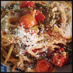 bucatini cherry tomatoes asparagus ricotta salata