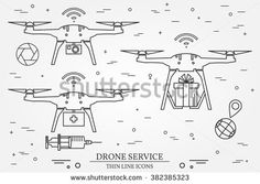 Drone service. Drone medical, delivery, Video and Photography service. Thin line icons. Vector illustration.