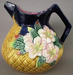 majolica pottery | Majolica Pottery; Unattributed, Pitcher, Floral & Basketweave, 7 inch.