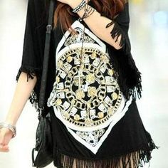 [grzxy6601632]Fringed Batwing Sleeve Loose Fit Printed Long T Shirt