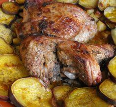 Receita: Perna de peru no forno com batata-doce
