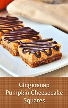 Gingersnap Pumpkin Cheesecake Squares - a freezer friendly cheesecake dessert square recipe that combines the great flavor of pumpkin cheesecake with a gingersnap crumb crust; a satisfying, smaller portion alternative to an entire slice of cheesecake. Perfect for Holiday entertaining; just pull a few out of the freezer at a time to serve after thawing for about 20 minutes.