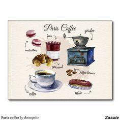 Paris coffee postcard