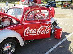 1958 VW Beetle, Coca-Cola theme by benteen. Vw Vintage, Vintage Signs, Vintage Items, Hot Vw, Always Coca Cola, World Of Coca Cola, Pepsi Cola, Vw Cars, Volkswagen Bus