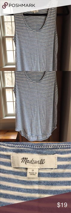 Drapey tank Madewell drapey tank top. Scoop neck, wide straps cover bra straps, slightly longer in the back. 100% viscose. Colors are a soft blue and ivory. Great pre owned condition! Madewell Tops Tank Tops
