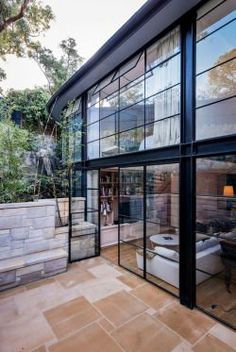 Exposed steel full glass facade