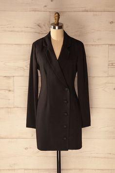 Tigliano - Black blazer dress with long sleeves