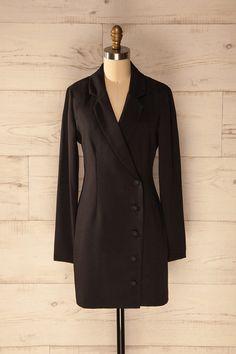 Tigliano - Black blazer dress with long sleeves