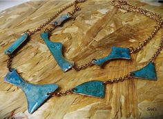 Verdigirs necklaces. You can wear one necklace or both of them together. It is made with copper, salt, water and ammonia. Handmade jewellery. Green blue necklace