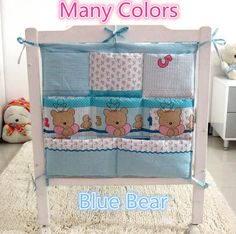 Promotion! Kitty Mickey Baby Bed Hanging Storage Bag Cotton Newborn Crib Organizer Toy Diaper Pocket Crib Bedding Set,62*52cm