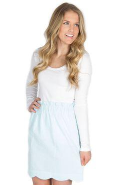 Scalloped Seersucker Skirt – Lauren James Co.