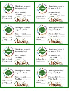 Printable Daisy Girl Scouts Cookie Sales Invoice and Thank you Card (8 per sheet) Just download, open and print! I had trouble finding any free printables for my daughter to attach to her orders, so created these. Hope they help someone else, too : )