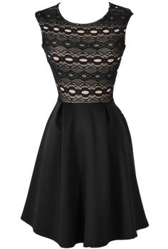 Edie Black and Nude Circle Lace Fit and Flare Party Dress  www.lilyboutique.com