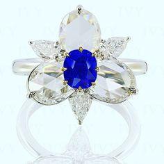 IVY New York. Blue Sapphire from Kashmir with diamonds in IVY ring! #blue #sapphire #kashmir #ring #handcrafted #diamonds www.ivynewyork.com