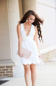 Ivory Scalloped Dress (ON SALE - $13!) - Sunshine & Stilettos Blog (Instagram: @katlynmaupin)