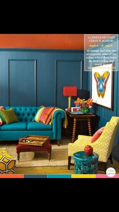Would love to have a bright couch like this upstairs! But maybe a purple or something to match a darker grey carpet