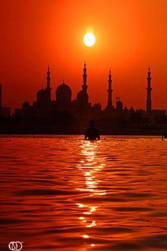 Sunset over Abu Dhabi, UAE - skyline for tattoo Abu Dhabi, Dubai, Places To Travel, Places To See, Beautiful World, Beautiful Places, Ras Al Khaimah, Grand Mosque, Sharjah