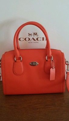 COACH F33329 CROSSGRAIN LEATHER MINI BENNETT SATCHEL SILVER/CORAL(Orange)
