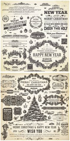 2013 New Year and Christmas decorative frames vector