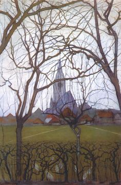 PIET MONDRIAN. Village Church , 1898, charcoal, gouache, pastel, pencil, and watercolor on paper. Post-Impressionism.