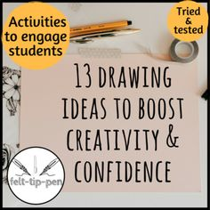 Drawings Ideas 13 drawing ideas to boost creativity and confidence in the Art classroom * printable with ideas to fill a sketchbook Drawing Lessons, Drawing Tips, Art Lessons, Drawing Ideas, Painting Lessons, Manga Drawing, Drawing Techniques, Life Drawing, Teaching Tips
