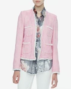 Frayed-Trim Tweed Jacket & Printed Sheer Chiffon Blouse by L\'Agence at Neiman Marcus.