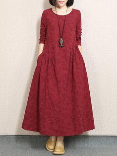 #BerryLook - #berrylook Round Neck Plain Jacquard Pocket Maxi Dress - AdoreWe.com
